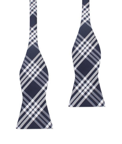 Midnight Blue with White Stripes Self Tie Bow Tie