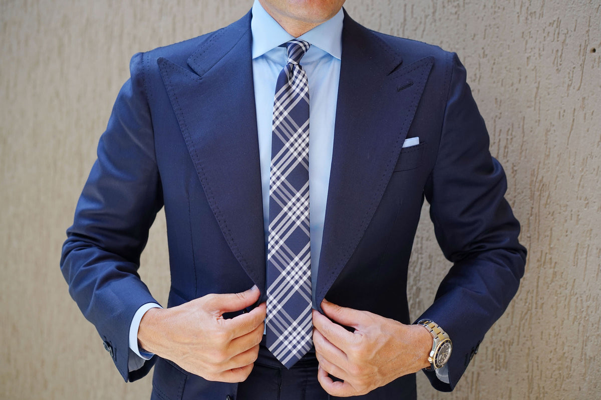 Midnight Blue with White Stripes Skinny Tie