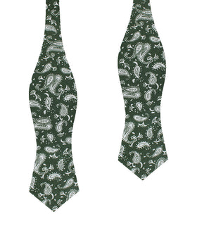 Milan Paisley Green Diamond Self Bow Tie