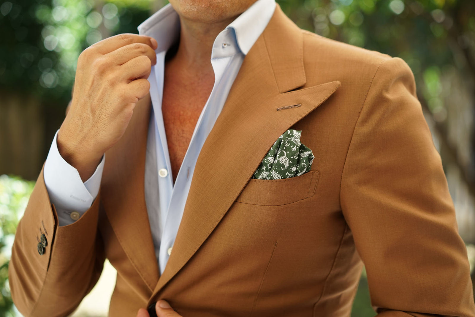 Milan Paisley Green Pocket Square