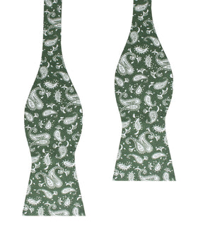 Milan Paisley Green Self Bow Tie