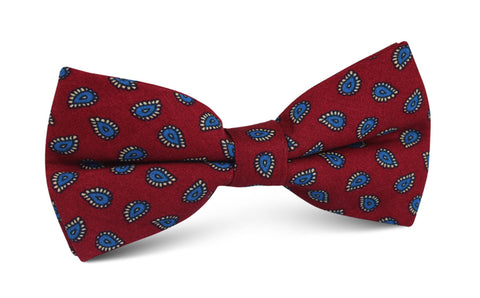 Milano Burgundy Red Paisley Bow Tie