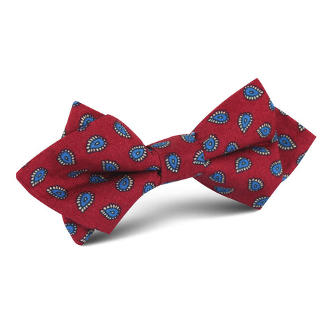 Milano Burgundy Red Paisley Diamond Bow Tie