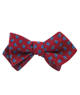 Milano Burgundy Red Paisley Diamond Self Bow Tie