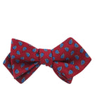 Milano Burgundy Red Paisley Diamond Self Bowtie