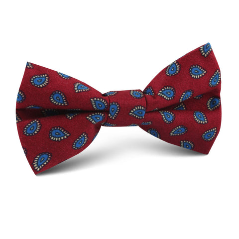 Milano Burgundy Red Paisley Kids Bow Tie