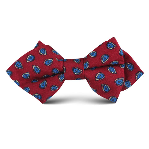Milano Burgundy Red Paisley Kids Diamond Bow Tie