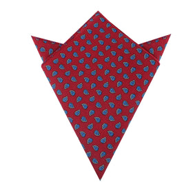 Milano Burgundy Red Paisley Pocket Square