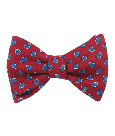 Milano Burgundy Red Paisley Self Bow Tie