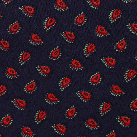Milano Navy Blue Paisley Kids Diamond Bow Tie