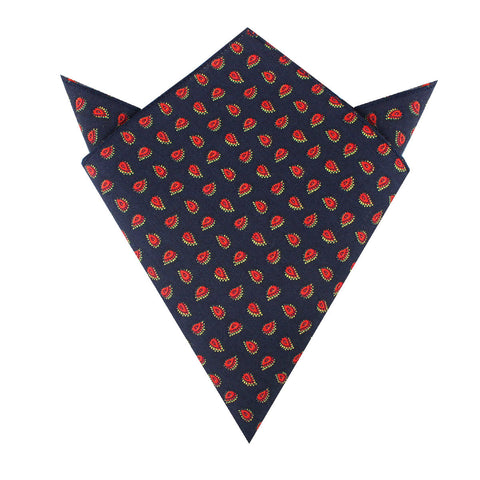 Milano Navy Blue Paisley Pocket Square