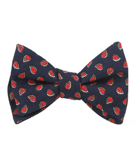 Milano Navy Blue Paisley Self Bow Tie