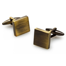 Millenia Brushed Brass Square Cufflinks