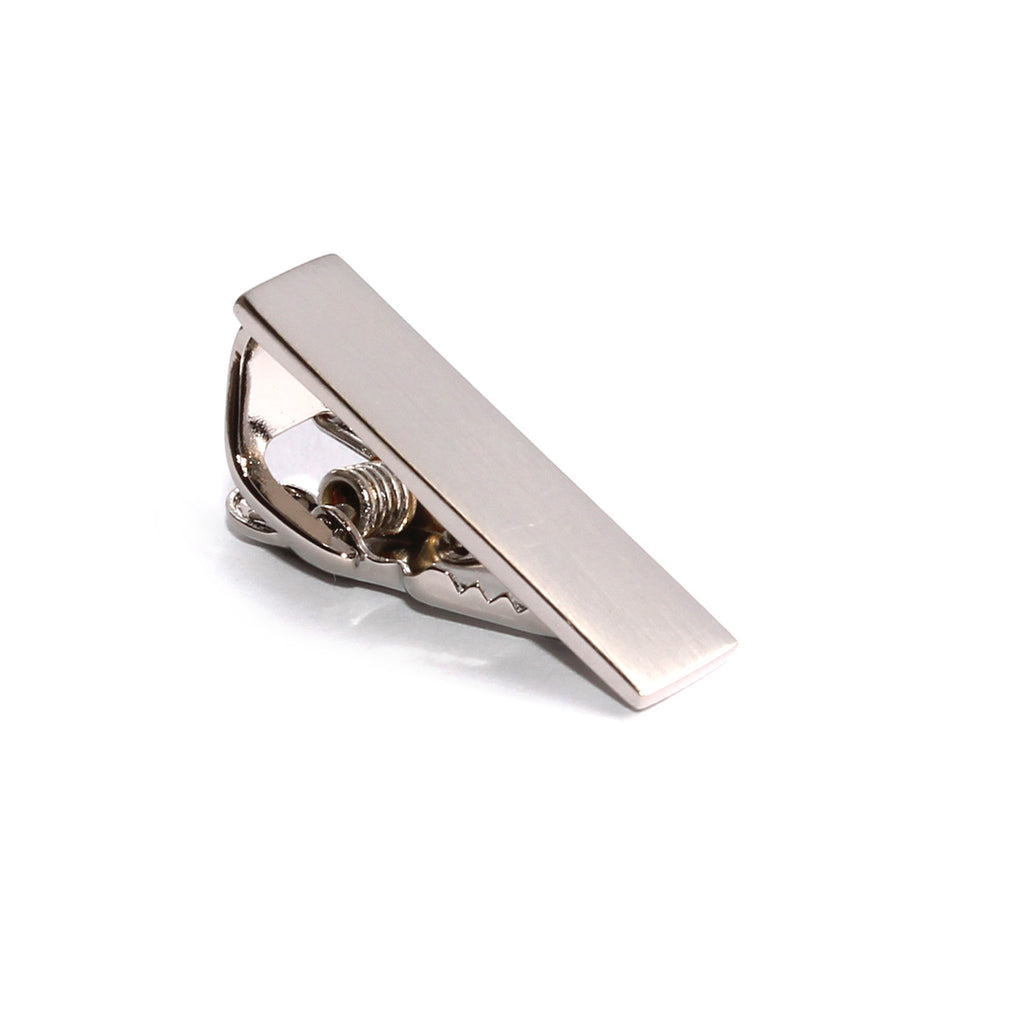 Mini Brushed Silver Skinny Tie Bar
