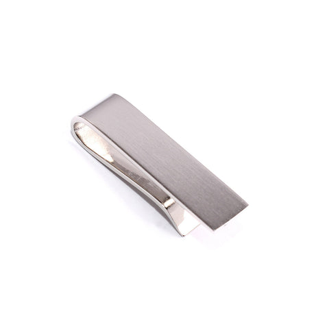 Mini Brushed Silver Square Clasp Skinny Tie Bar