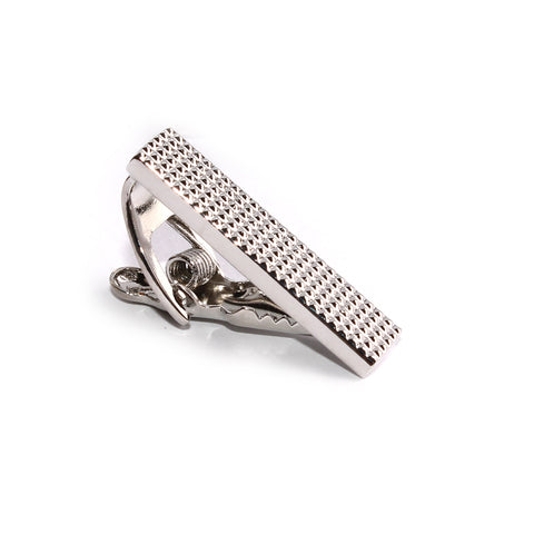 Mini Studded Silver Skinny Tie Bar