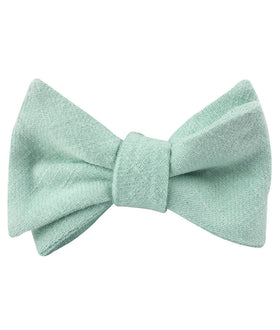 Mint Blush Green Chevron Linen Self Bow Tie
