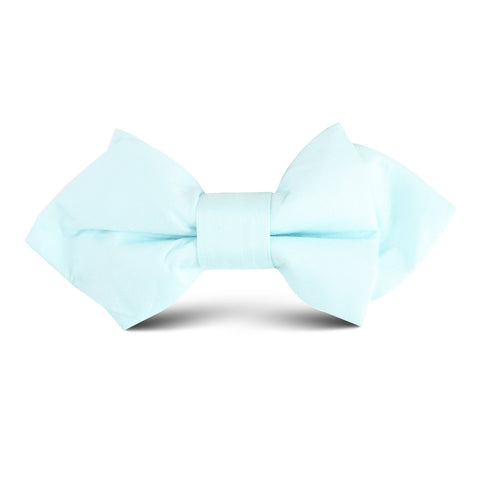 Mint Blue Cotton Kids Diamond Bow Tie