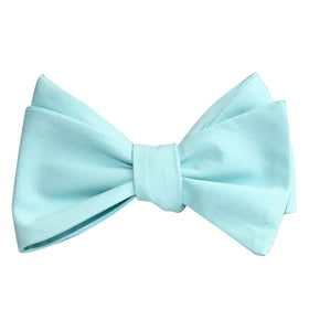 Mint Blue Cotton Self Tie Bow Tie