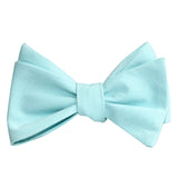 Mint Blue Cotton Self Tie Bow Tie 1