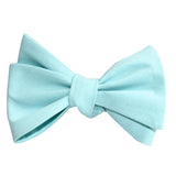 Mint Blue Cotton Self Tie Bow Tie 2