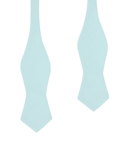 Mint Blue Cotton Self Tie Diamond Tip Bow Tie