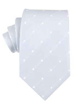 Mint Blue with White Polka Dots Necktie