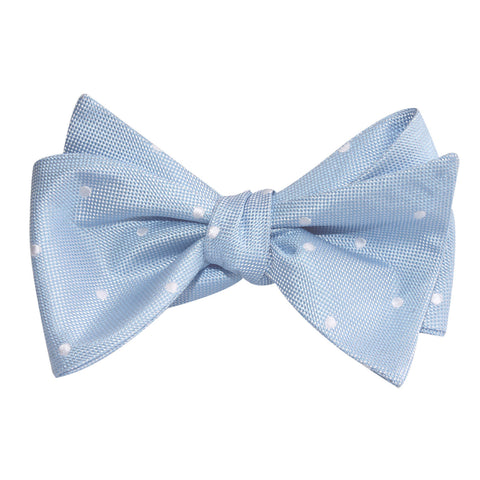 Mint Blue with White Polka Dots Self Tie Bow Tie