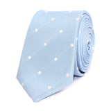 Mint Blue with White Polka Dots Skinny Tie Front
