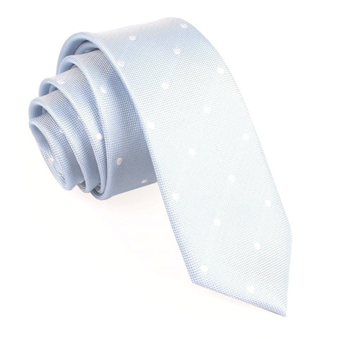 Mint Blue with White Polka Dots Skinny Tie