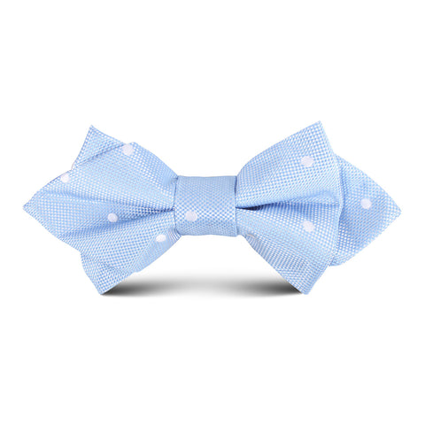 Mint Blue with White Polkadots Kids Diamond Bow Tie