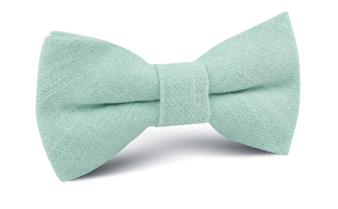 Mint Blush Green Chevron Linen Bow Tie