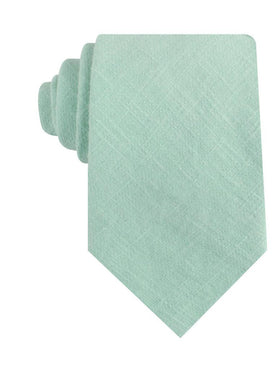 Mint Blush Green Chevron Linen Necktie