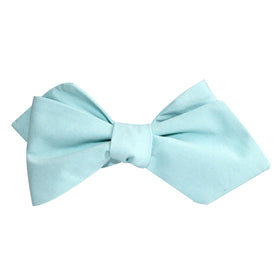 Mint Green Cotton Self Tie Diamond Tip Bow Tie