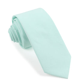 Mint Green Cotton Skinny Tie
