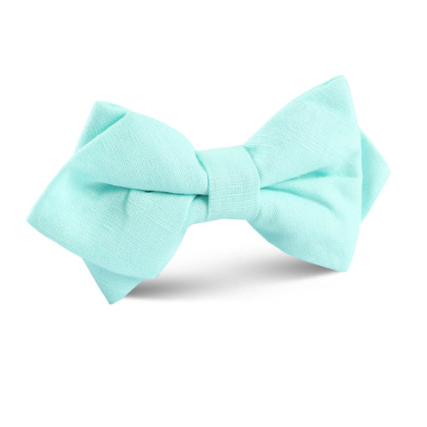 Mint Green Linen Diamond Bow Tie