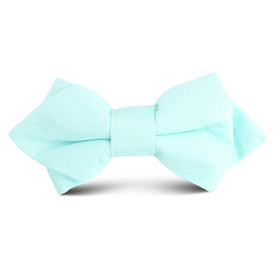 Mint Green Linen Kids Diamond Bow Tie