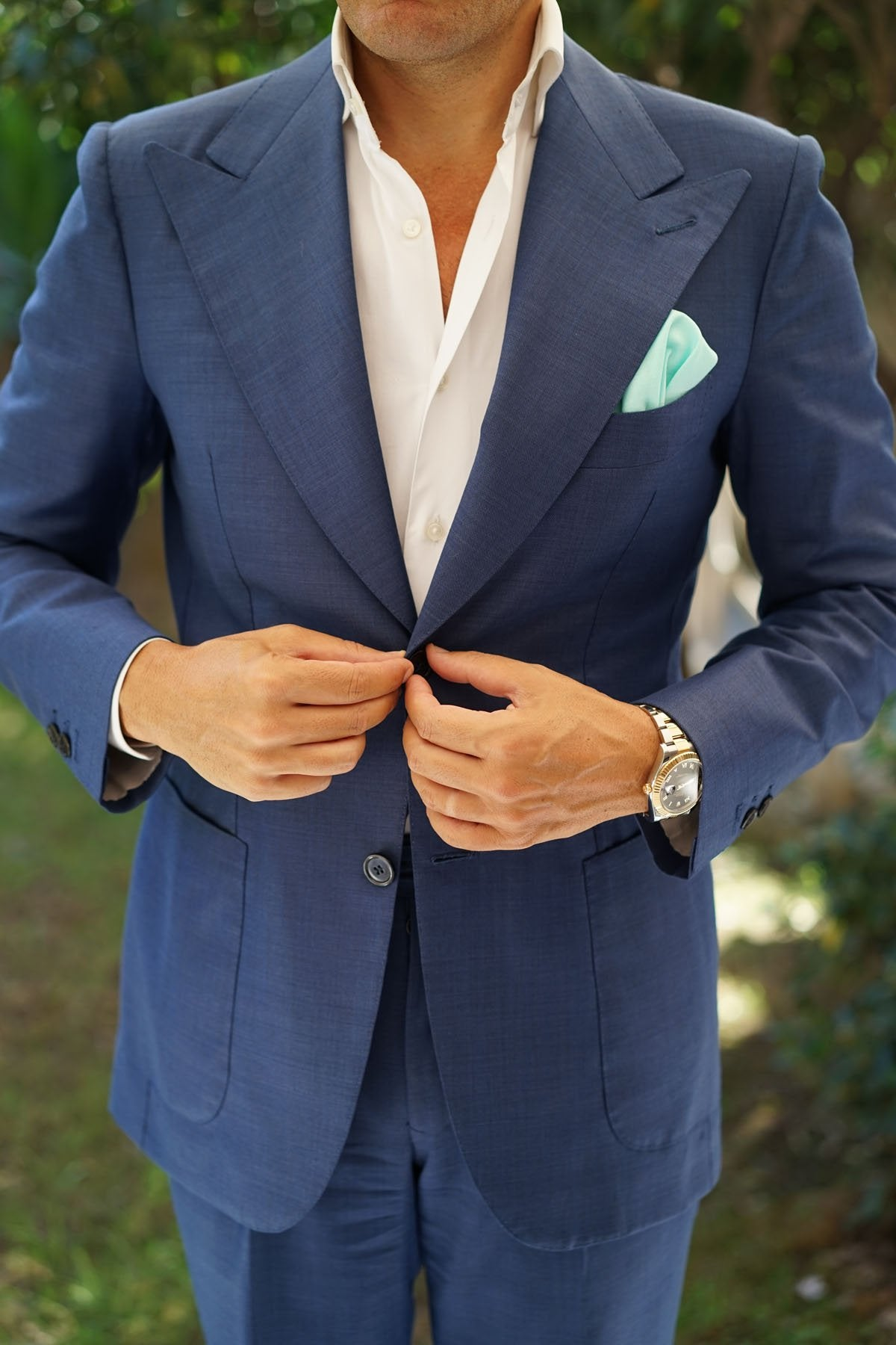 Mint Green Linen Pocket Square