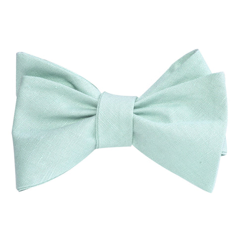 Mint Green Linen Self Tie Bow Tie