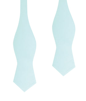 Mint Green Linen Self Tie Diamond Tip Bow Tie