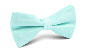 Mint Green with White Polka Dots Bow Tie