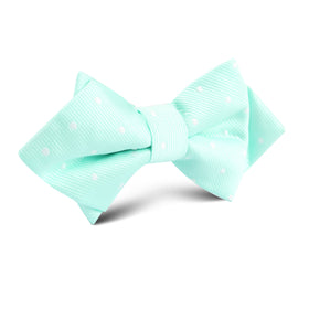 Mint Green with White Polka Dots Diamond Bow Tie