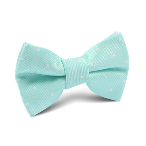 Mint Green with White Polka Dots Kids Bow Tie
