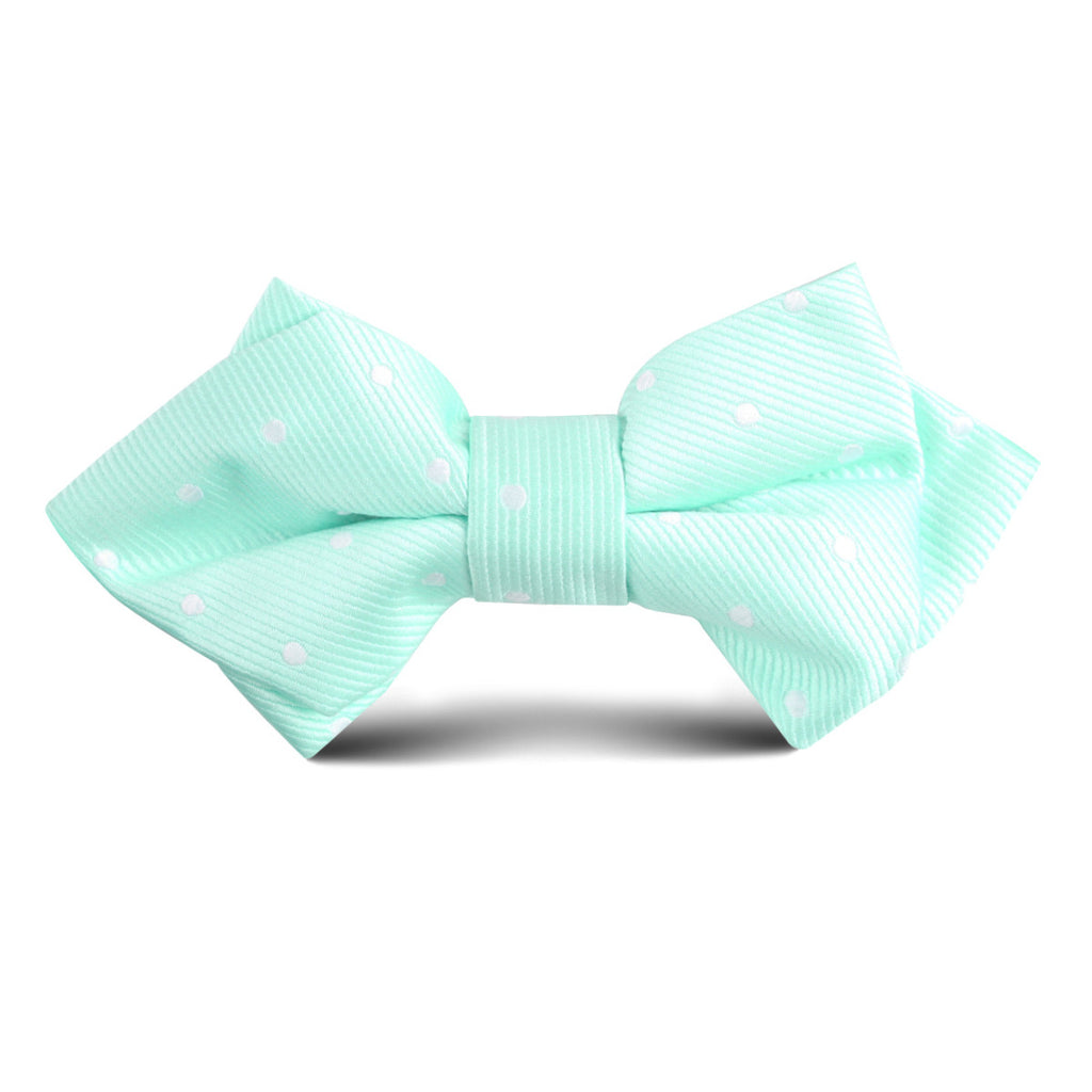 Mint Green with White Polka Dots Kids Diamond Bow Tie