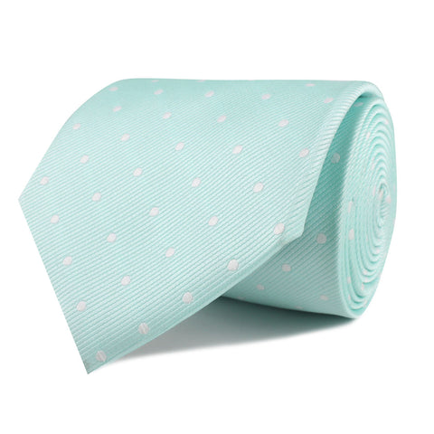 Mint Green with White Polka Dots Necktie
