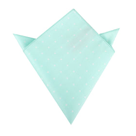 Mint Green with White Polka Dots Pocket Square