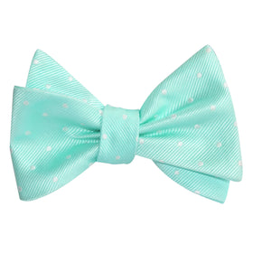 Mint Green with White Polka Dots Self Tie Bow Tie