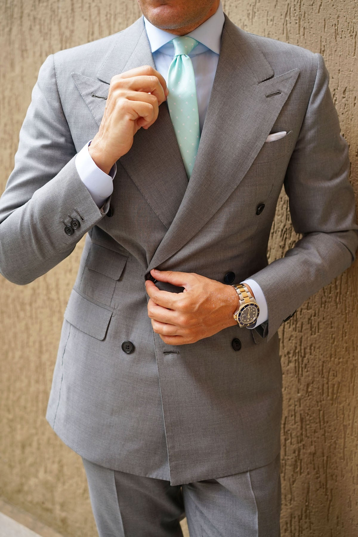 Mint Green with White Polka Dots Skinny Tie