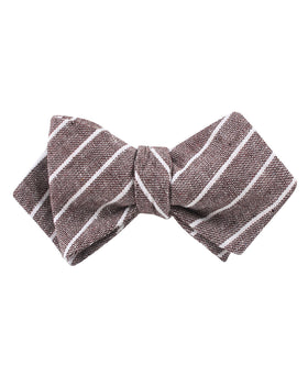 Mocha Brown Pinstripe Linen Diamond Self Bow Tie