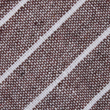 Mocha Brown Pinstripe Linen Fabric Mens Diamond Bowtie